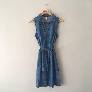 Polka Dot Chambray Dress